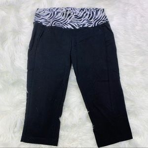 Danskin Now Black w/ Zebra Workout Capris - M
